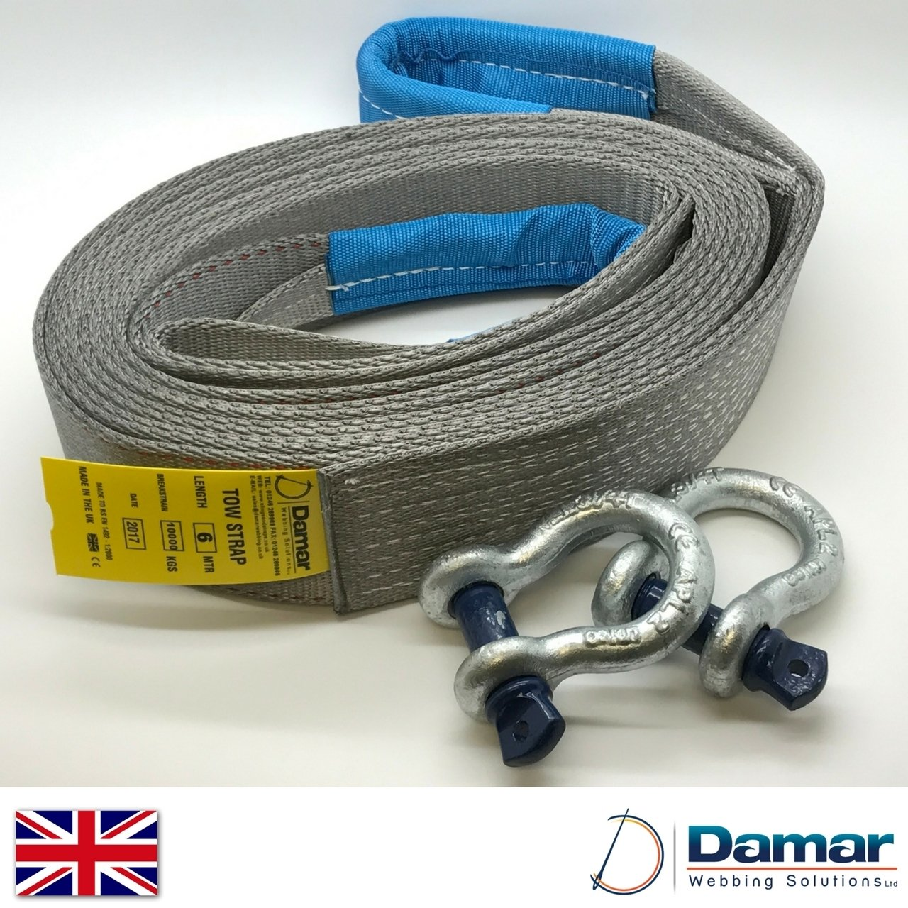 Tow strap 4x4 recovery 6mtr 10ton with 2 tested shackles Damar Webbing Solutions