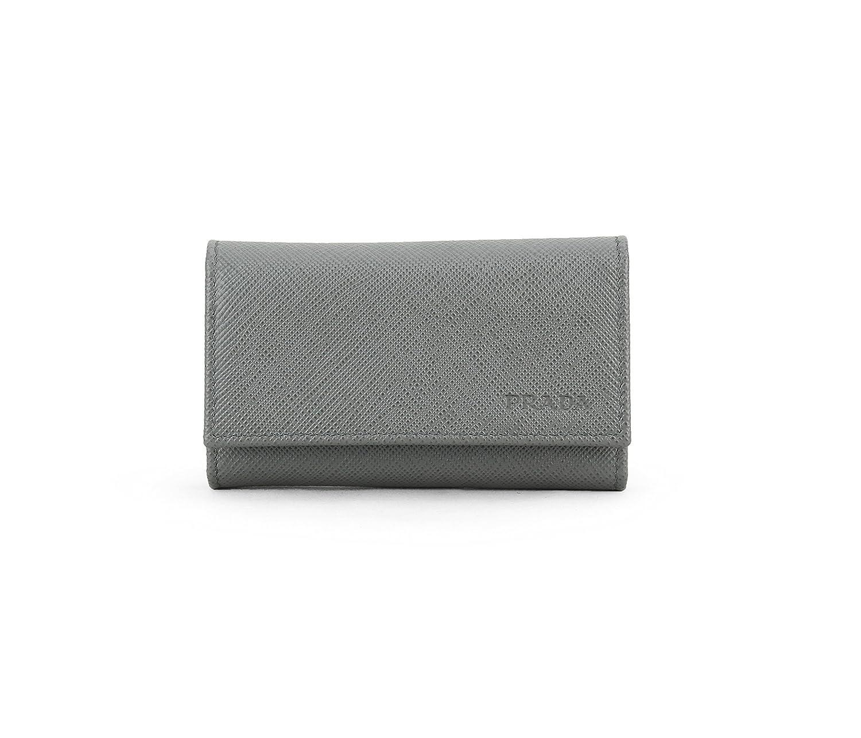 c02de6dcd719 Prada Saffiano Leather Key Holder Wallet, Mercurio (Grey) at Amazon Women's  Clothing store: