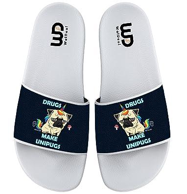 Drugs make Unipugs Slide Sandal For Men's Women Soft Bathroom Shower Beach Slippers Sandal