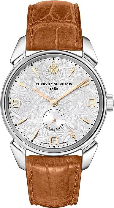 Cuervo Y Sobrinos 3130.1 Fa Hombres Swiss reloj de lujo del historiador flameante Hand-Winding acero Argenté
