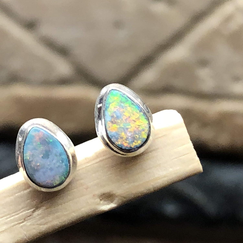 Natural Ethiopian Opal 925 Solid Sterling Silver Stud Earrings 7mm