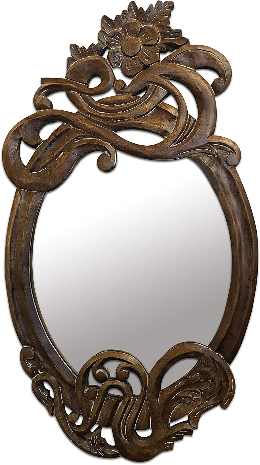 DecorShore Modernismo - 32 in x 18 in Antique Art Nouveau Style Hand Carved Mango Wood Decorative Wall Mirror