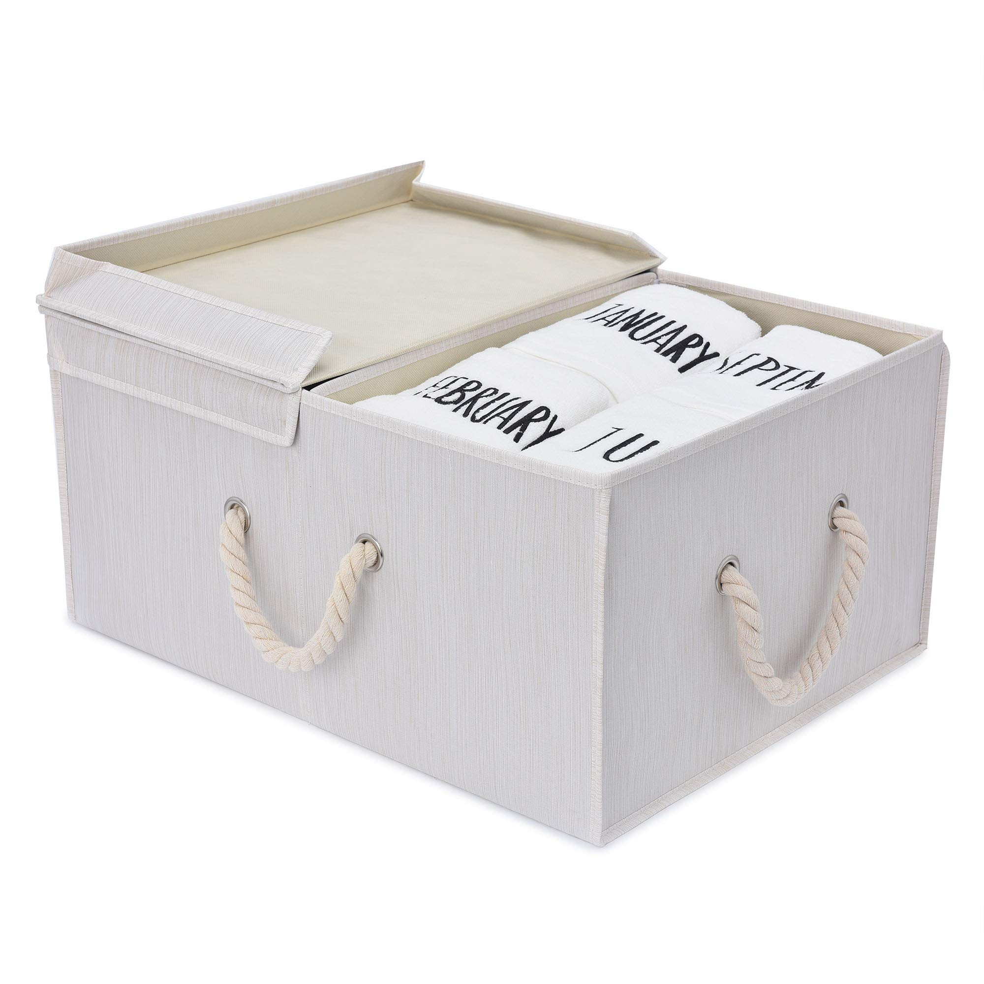 StorageWorks Storage Box with Lid and Strong Cotton Rope Handle, Foldable Clothes Closet Organizer, White, Bamboo Style, Jumbo, 65L Huge Capacity