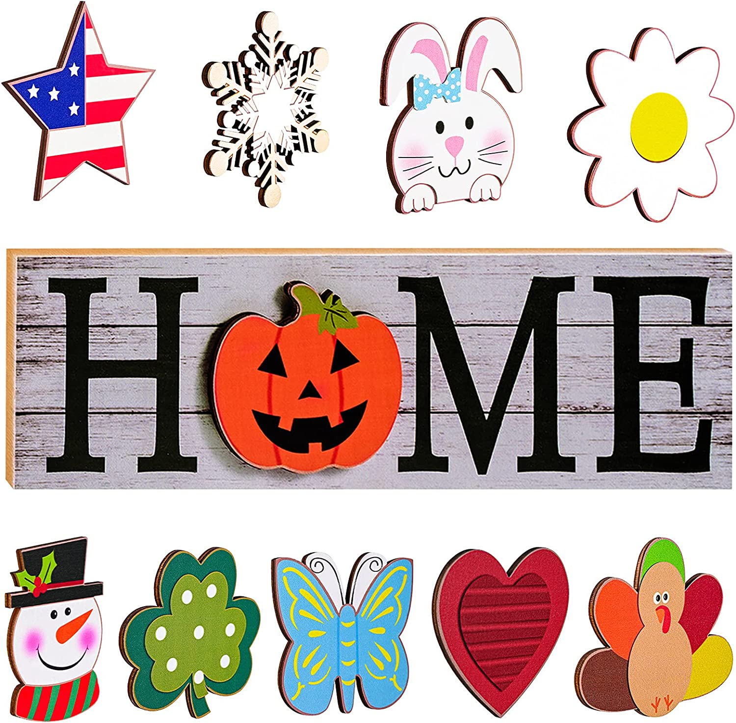 TRYAH Interchangeable Gnome Home Sign Sentiment Set with Pumpkin Rabbit Snowman Turkey Holiday Pieces for Home Decor Table Decoration Lakeside Collection (Normal Home Sign x 10)