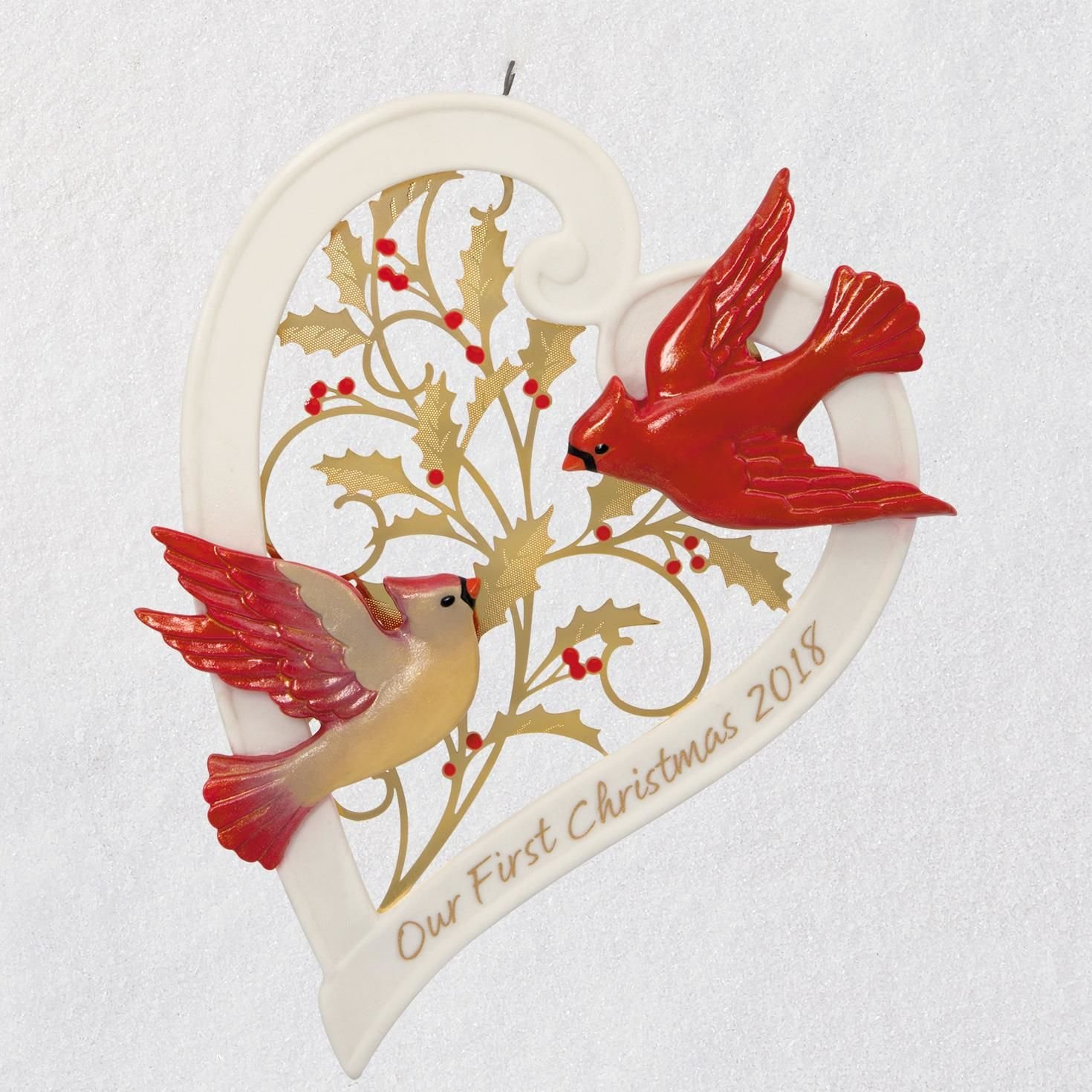 Hallmark Our First Christmas Together Heart 2018 Porcelain Ornament keepsake-ornaments Milestones,Family,Animals & Nature by Hallmark