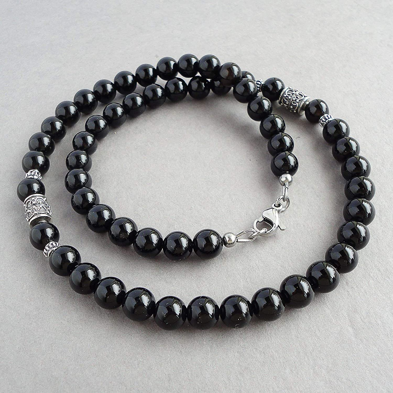 c4c6f526031932 Amazon.com: 8mm Black Onyx Mens Necklace - Sterling Silver Accents - Beaded  Gemstone Jewelry - Handmade: Handmade