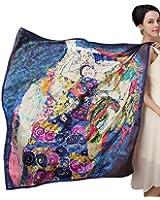 Prettystern – (édition limitée!) LUXUS 100cm X 100cm Reproduction peinture – fait main – Foulard en soie -- Gustav Klimt – la vierge (étoile d'or)