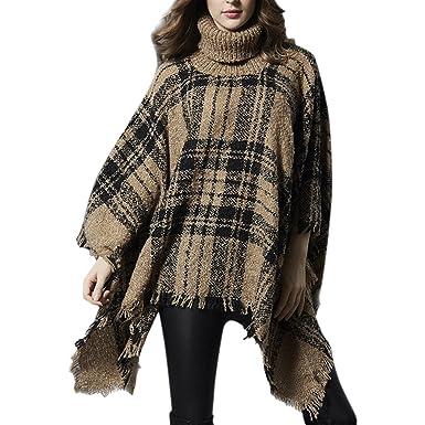 Petalum Damen Poncho Winter Herbst Rollkragen Pullover Schal