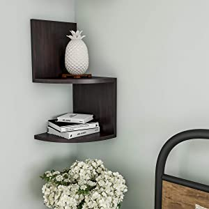 Lavish Home Floating Corner Shelf- 2 Tier Wall Shelves with Hidden Brackets to Display Decor, Books, Photos, More-Hardware Included (Dark Brown)