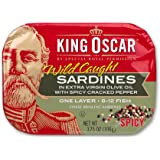 King Oscar Sardines in Extra Virgin Olive Oil, Spicy Cracked Pepper, 3.75 Ounce (Pack of 12)
