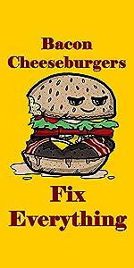 Hat Shark Bacon Cheeseburgers Fix Everything Food Humor Cartoon - Plywood Wood Print Poster Wall Art