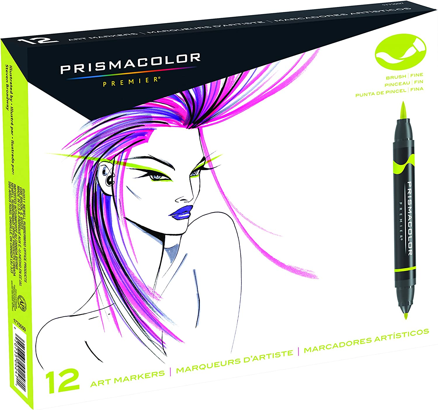 Prismacolor 1773297 Premier Double-Ended Art Markers, Fine and Brush Tip, 12-Count,Assorted Colors