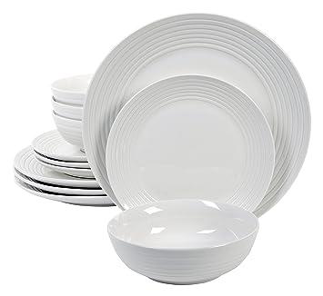 Gibson Home 12 Piece Hazelton Dinnerware Set White  sc 1 st  Amazon.com & Amazon.com | Gibson Home 12 Piece Hazelton Dinnerware Set White ...