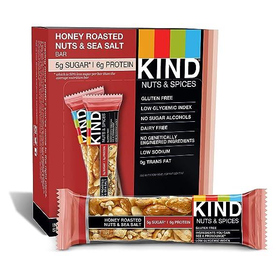 KIND Bars, Honey Roasted Nuts & Sea Salt, Gluten Free, 1.4 Ounce Bars