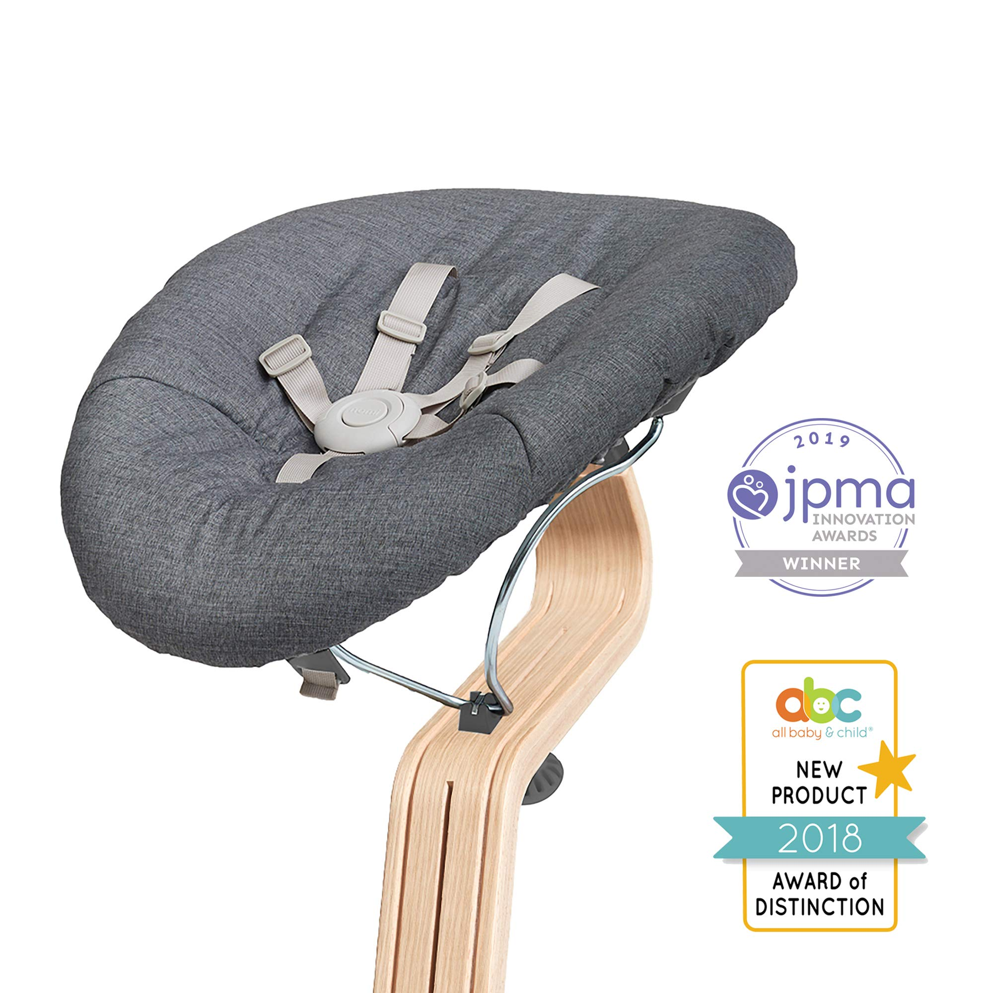 Nomi Baby, Gray with Gray Cushion, Newborn Bouncer Accessory for Nomi High Chair, Seamlessly Adjusts from Lay Flat to More Upright Position, Bouncer Seat Elevates Baby to The Height of The Table