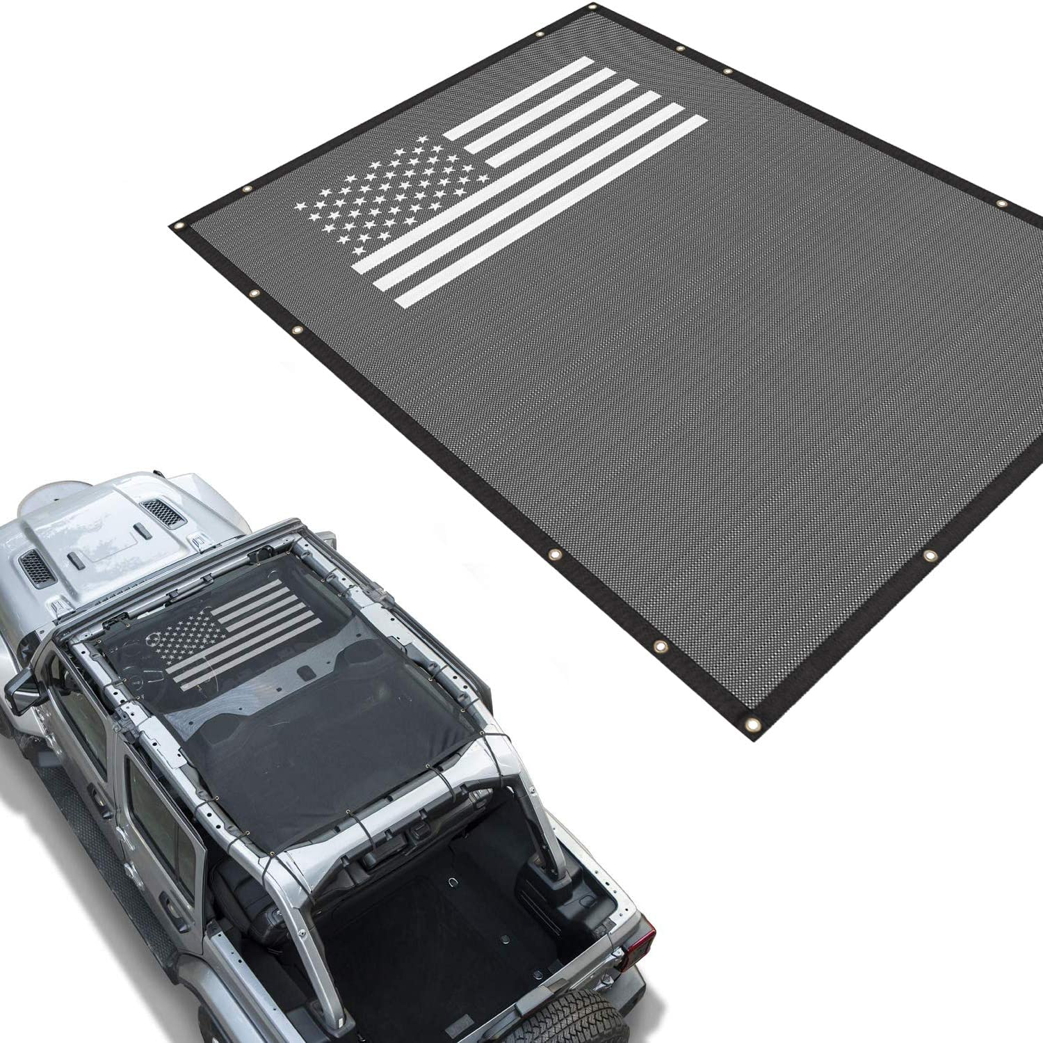 Top Cover Mesh Sunshade Soft Top Cover Black UV Protection for 2//4 Door 2018 2019 2020 Jeep Wrangler JL JLU