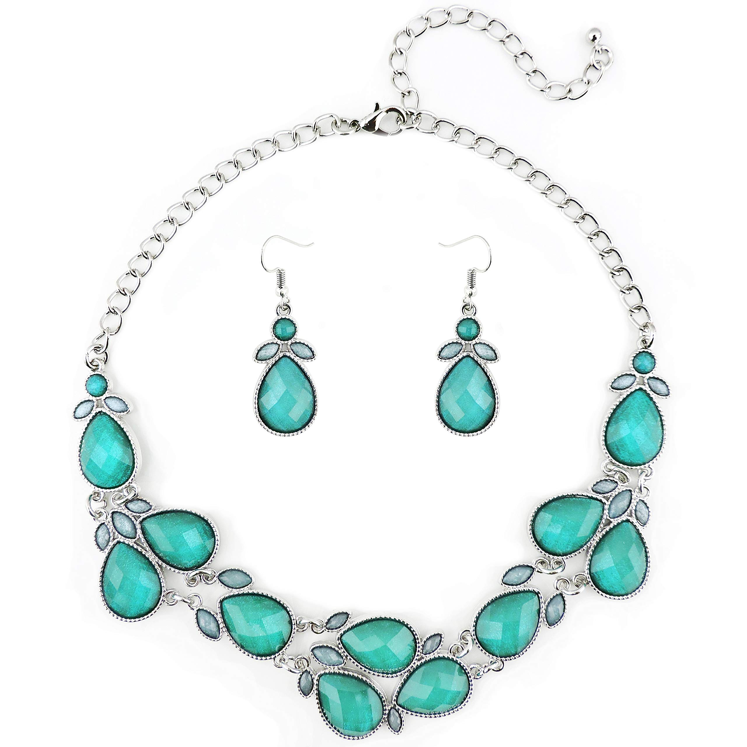 Firstmeet Shiny Resin Drill Collar Necklace with Earrings (Teal-bk)