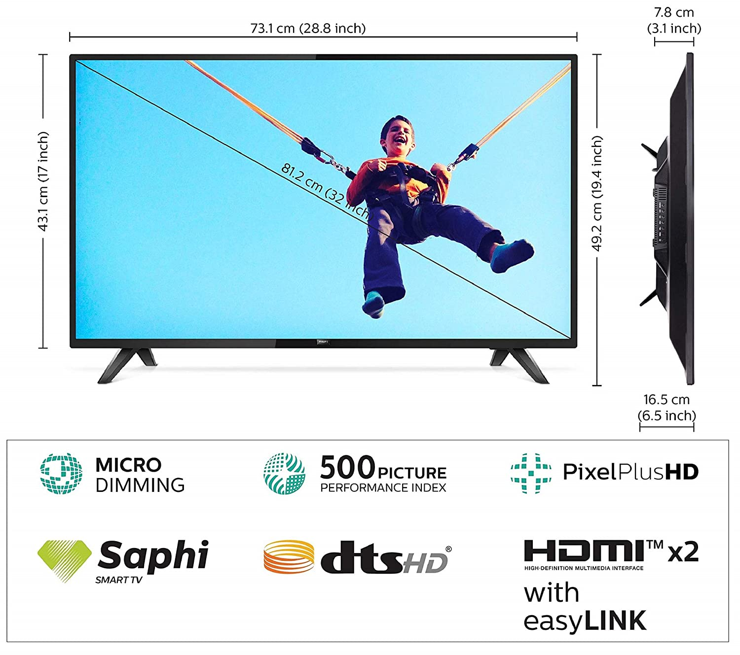 Philips 80 cm (32 inches) 5800 Series HD Ready LED Smart TV
