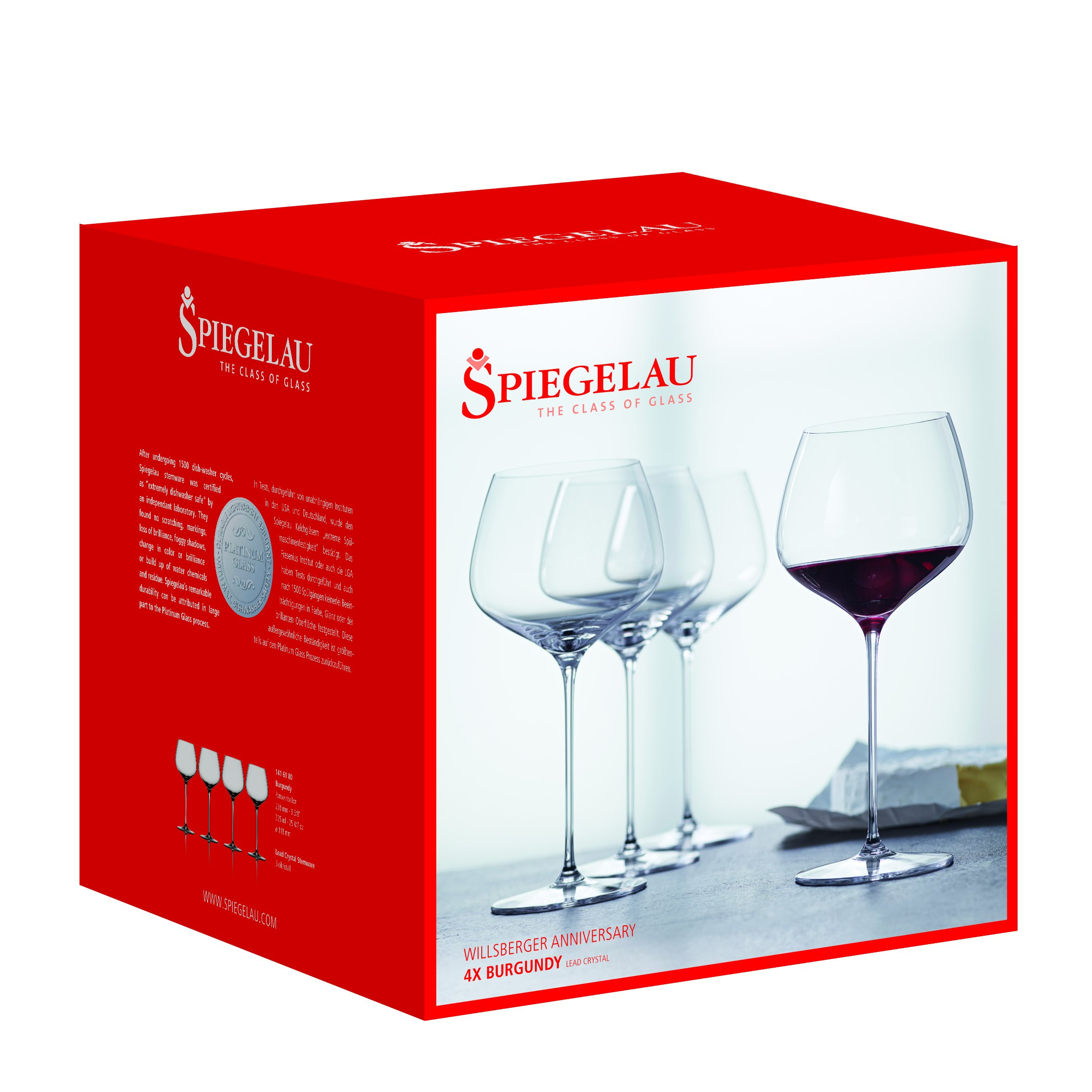 Spiegelau Willsberger Burgundy Glass (Set of 4), 25.6 oz, Clear