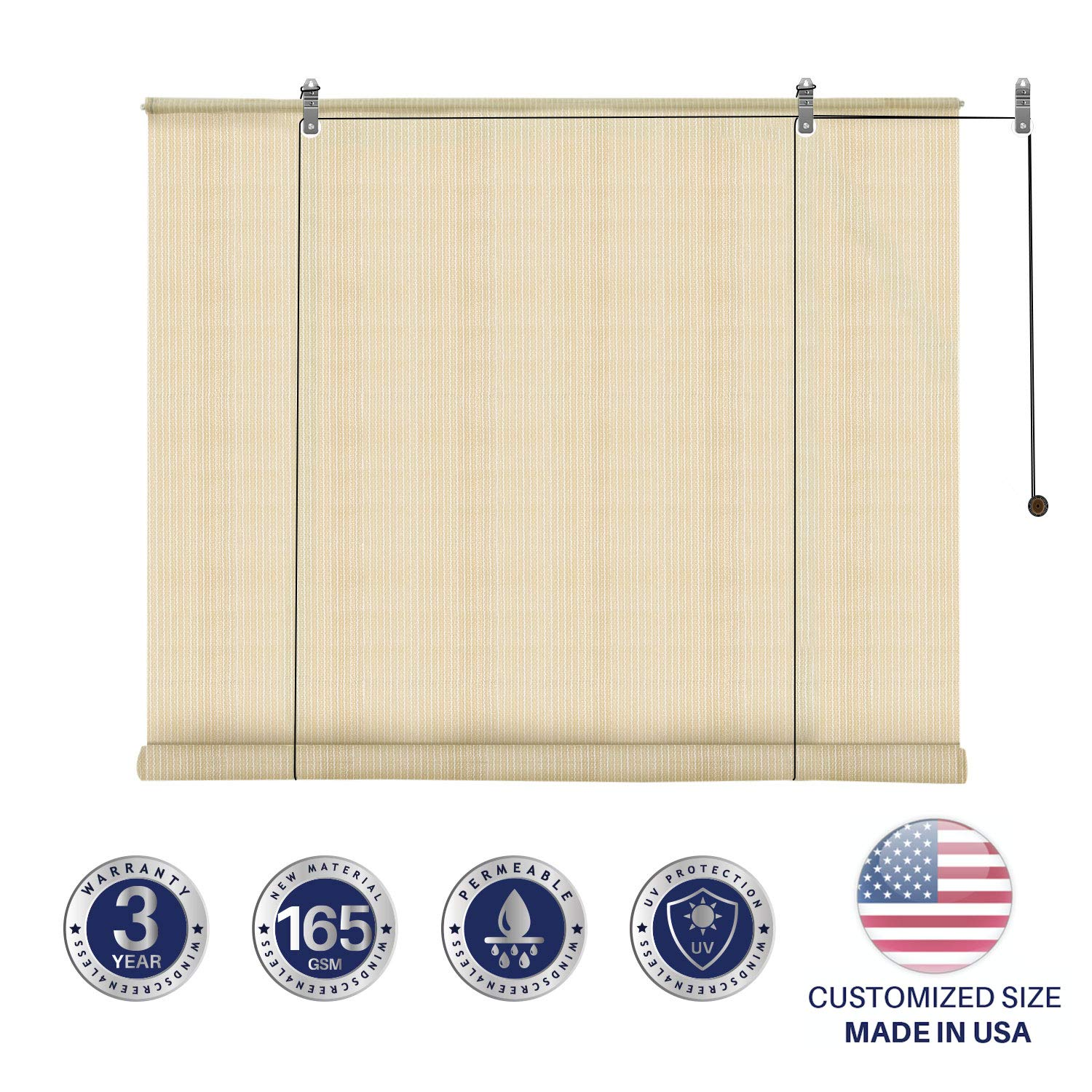 Windscreen4less Exterior Roller Shade Blinds Outdoor Roll Up Shade with 90% UV Protection Privacy for Deck Back Yard Gazebo Pergola Balcony Patio Porch Carport 7' W x 6' L Beige