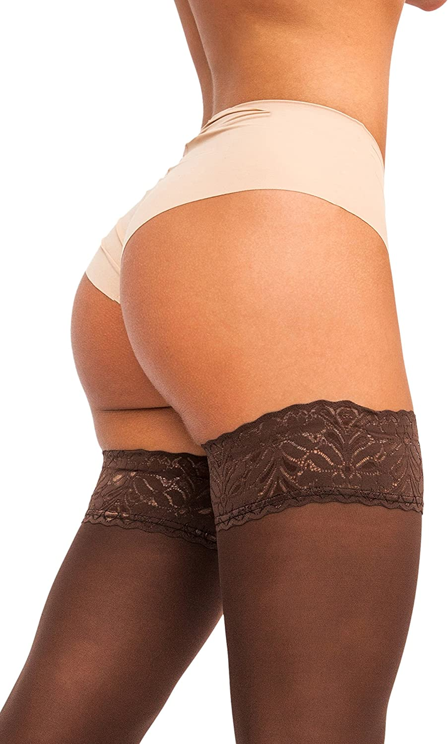 Made in Italy sofsy Lace Thigh High Stockings for Women Hold Up Nylon Pantyhose 60 Den