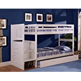 Twin Over Twin Stair Stepper Bed with Trundle in White Finish