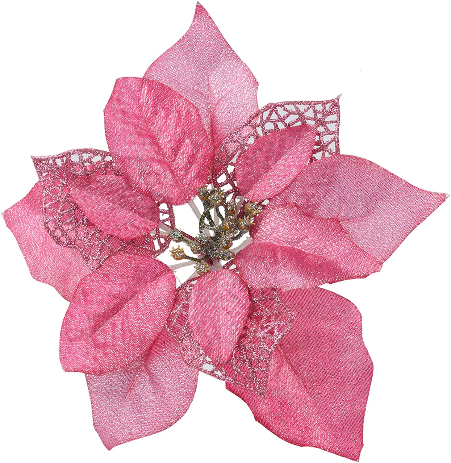 LEVOSHUA 12 Pack Glitter Poinsettia Christmas Tree Ornaments Christmas Tree Decoration Poinsettia Flowers with Stems for Wreath Garland Mantle Centerpiece(Pink)