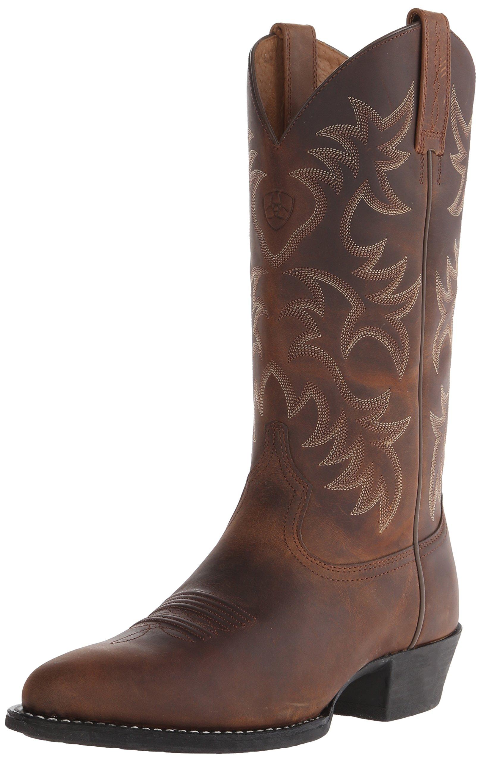 Ariat Men's Heritage Western R Toe Cowboy Boot, Distressed Brown, 8.5 EE US