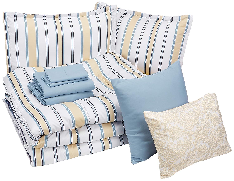 AmazonBasics 10-Piece Comforter Bedding Set, Full / Queen, Blue and Tan Stripe, Microfiber, Ultra-Soft