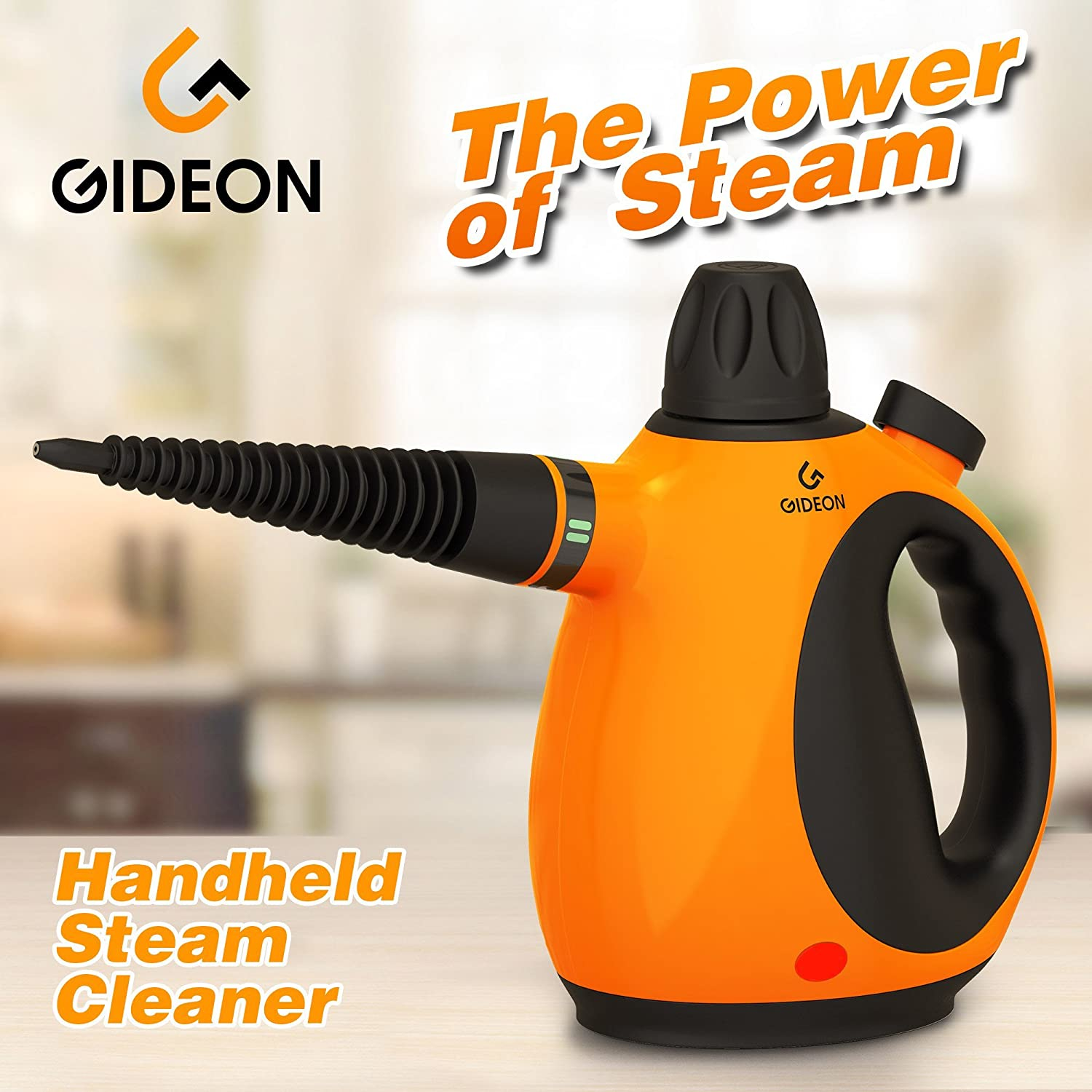 Gideon™ Handheld Pressurized Steam Cleaner and Sanitizer / Powerful Multi-purpose Steamer, Removes Stains, Grease, Mold, etc. and Disinfects / Removes Wrinkles from Garments GD-MS-2