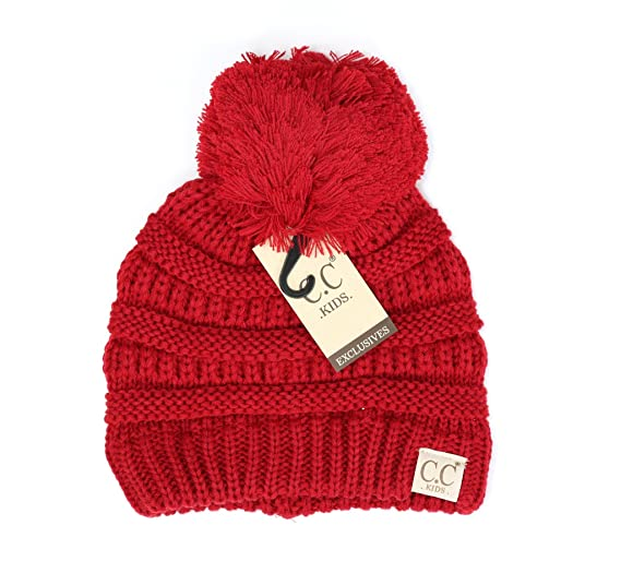 24acfbba638 Motobear CC Kids Beanie Hats Baby Toddler Cable Knit Children s Pom Winter  Hat CC Beanie Kids