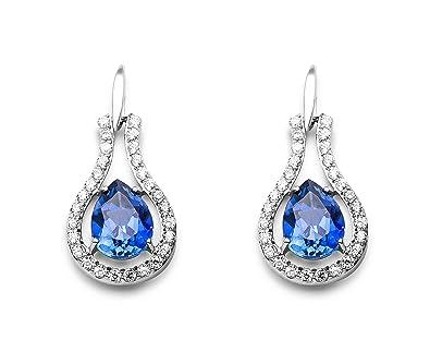 Miore MSAE008E Women's 925 Sterling Silver Blue Sapphire Zirconia Drop Earrings 0YAEtZhd