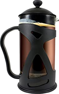 PATENTED Coffee Maker French Press:by SterlingPro [Double Filter - the Purest home-brewed coffee/tea] Gift 2 Free Bonus Screens [Premium Stainless Steel] [Thick Heat-resistant Glass Pot (34oz, 1L)