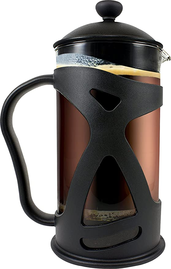 SterlingPro 1L Thick Heat-resistant Glass Pot PATENTED Coffee Maker French Press 34oz Double Filter - the Purest home-brewed coffee//tea Premium Stainless Steel Gift 2 Free Bonus Screens