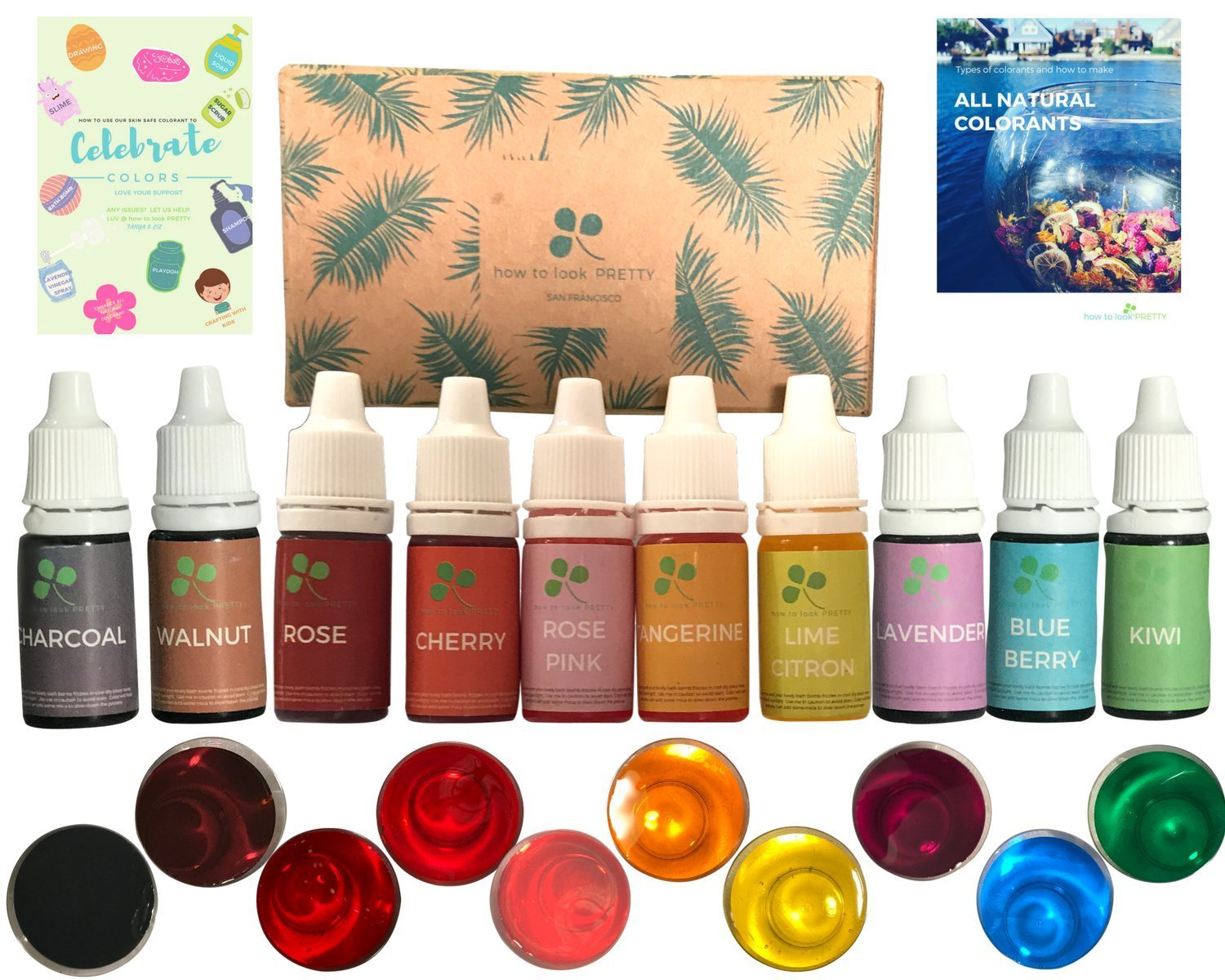 10 color Skin Safe Food Grade Soap Dye - Bath Bomb, Slime, Playdoh Making. BONUS eGuides - How to All Natural Colorant and Coloring Ideas with Kids using Soap Supplies Kit