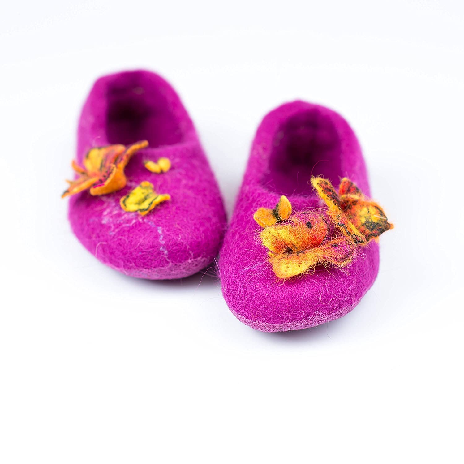 Little Princess woolen slippers with butterflies for toddler girls, Handmade felted wool slippers