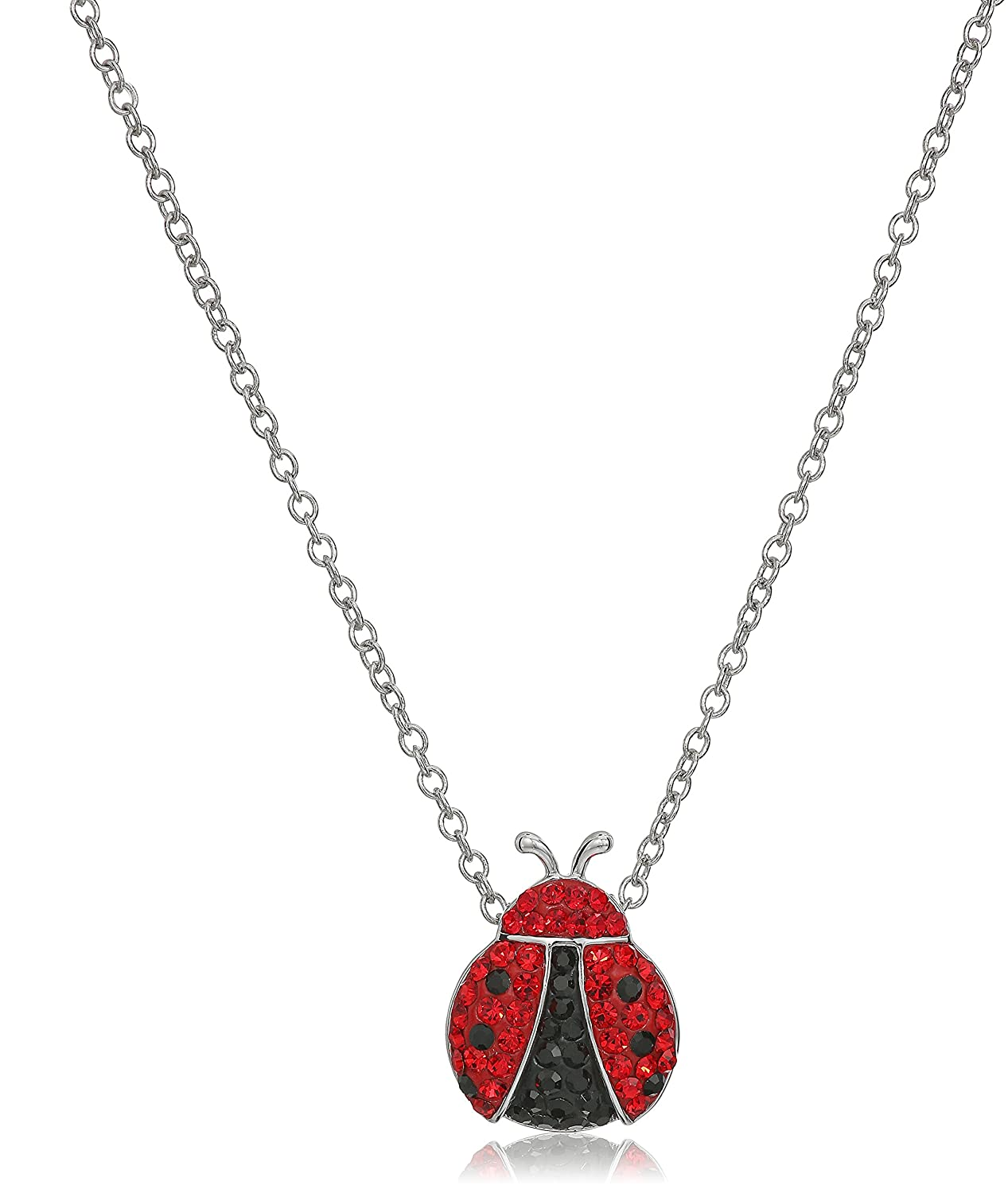 Silver-Plated Crystal Ladybug Pendant Necklace, 18 18 Amazon Collection 24264101