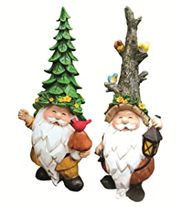 Garden Gnomes Statues - Unique Gnome Set of 2 Cute Gnomes by Harmony Code