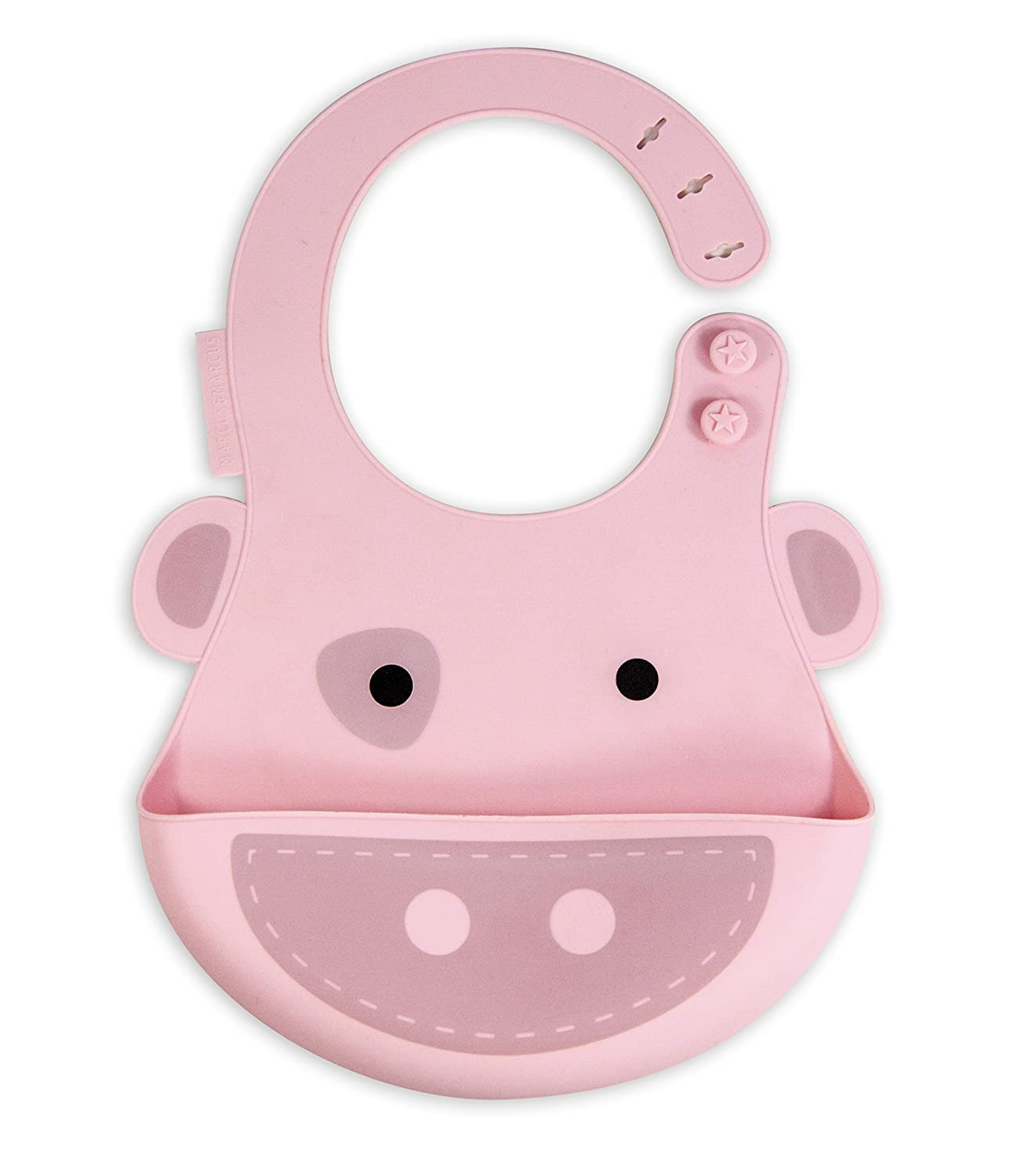 Marcus & Marcus POKEY THE PIG Adjustable Silicone Baby Bib - Pink 11001
