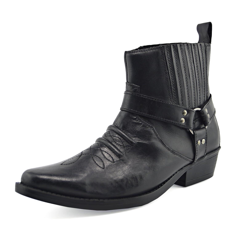 Kick Footwear - Herren Cowboy Ankle Stiefel Aus Leder Biker-Stiefel Biker-Stiefel Biker-Stiefel Aus Leder Toe f06f4a