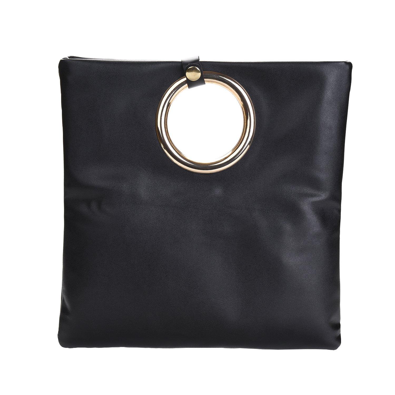 VRLEGEND Evening Clutches Purses Top Handle for Women Handbags Leather Tote Bag with Shoulder Strap (Black)