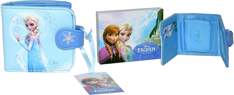Disney la Reine des Neiges Portefeuille Tri-Pli avec Fermeture /Éclair Compartiment Mettant en Vedette Anna et Elsa