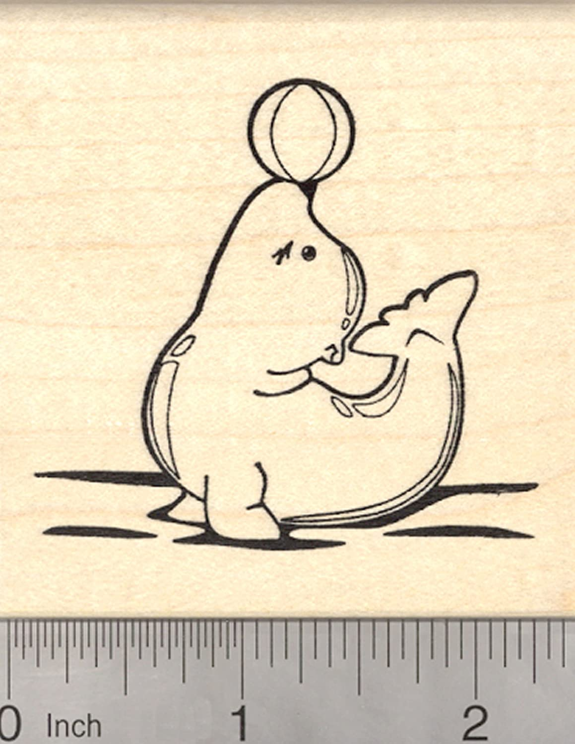 Sea Lion Playing with Ball Rubber Stamp Mounted Wood Block Art Stamp