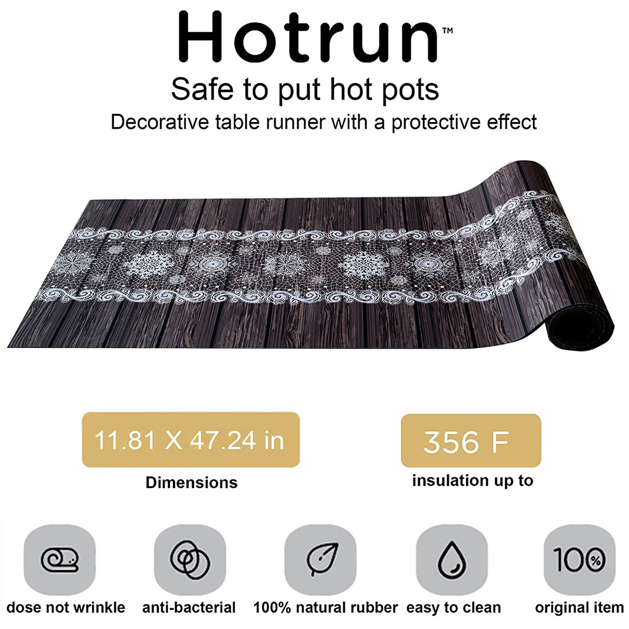 Hotrun Decorative Trivet and Kitchen Table Runners Handles Heat Up to 356F Anti Slip Hand Washable and Convenient for Hot Dishes and Pots (Wood) by Fennoma (Image #3)