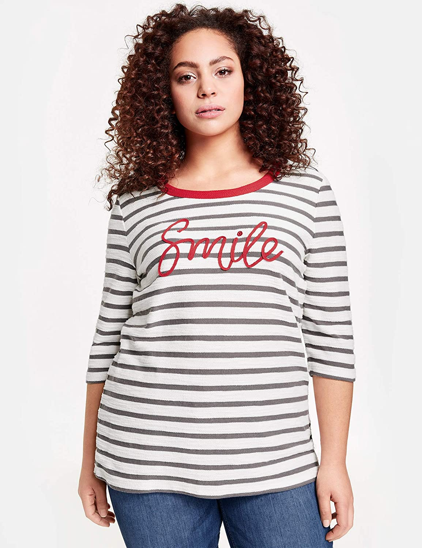 Samoon Damen T-Shirt 3 4 Arm Rundhals Ringel-Shirt Smile Smile Smile elastisch, Soft, hautfreundlich gestreift figurumspielend Rundhals B07PDJB876 T-Shirts Beliebte Empfehlung 0ae780