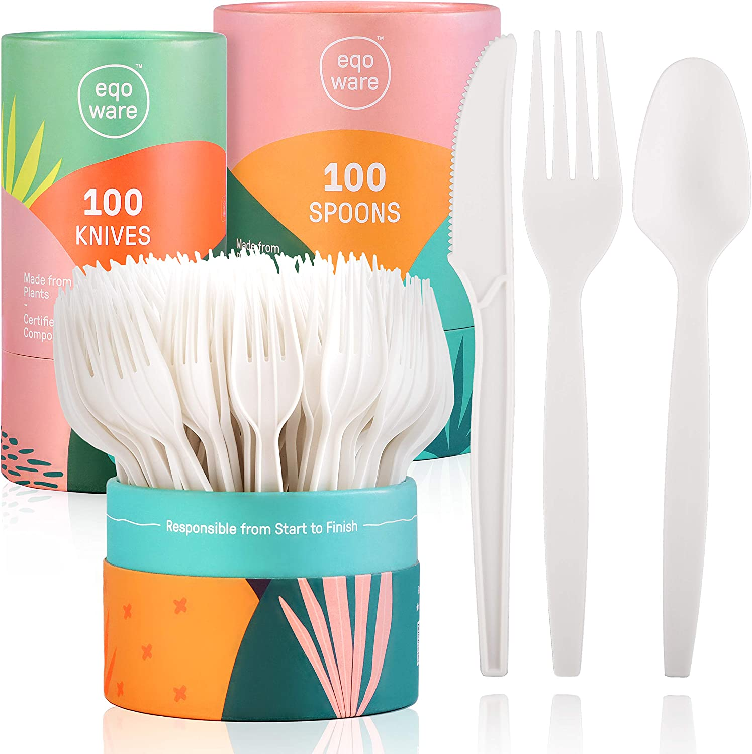 """eqoware Certified Compostable Cutlery Made from Plants   300 Pack   7"""" Large, Sturdy & Heat Resistant   Convenient Serving & Storage Holder   Design-led Compostable Plastic Utensils for Home & Office"""