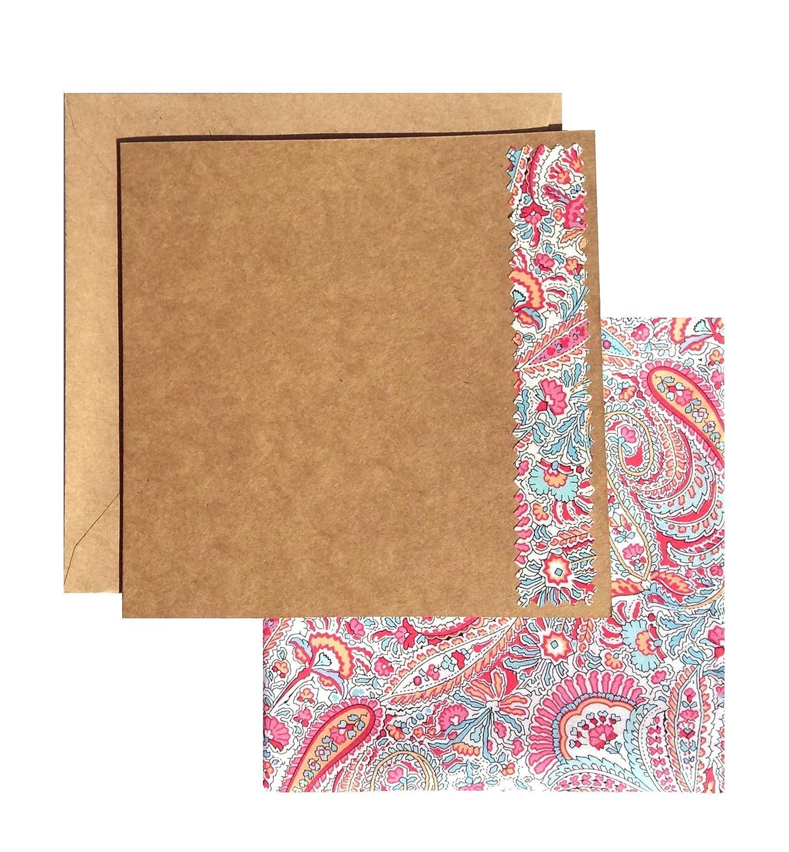 Liberty Print Pocket Square Pink Abbey Road Hand Stitched Hem 29 x 29 cm
