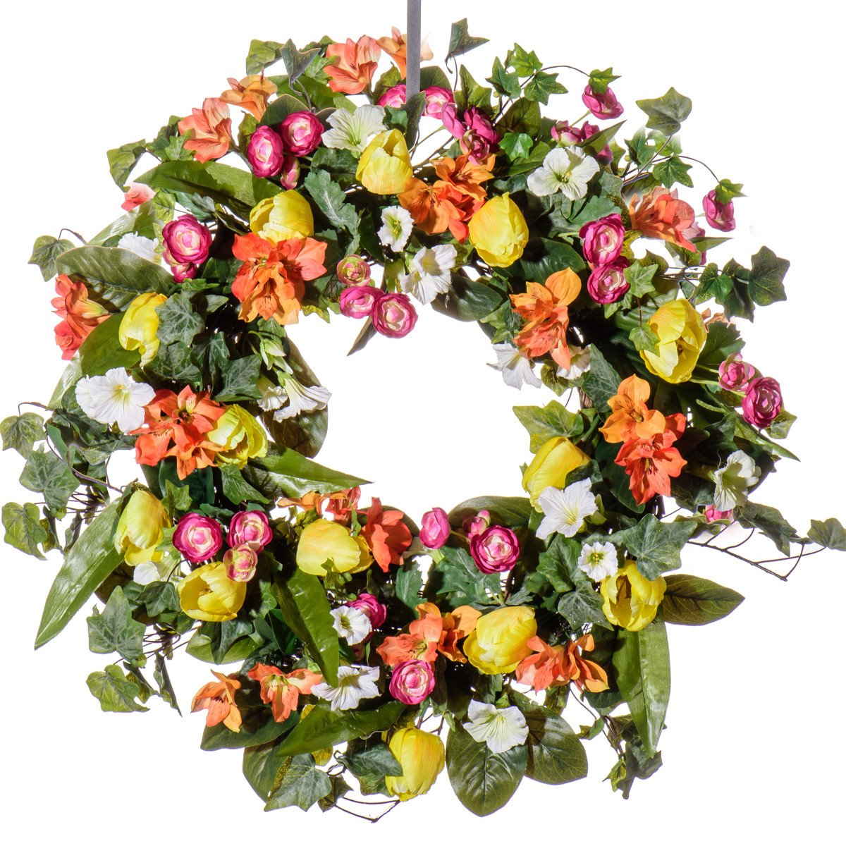 Tulip, Petunia & Ranunculus Silk Wreath (SW921) - Spring Wreath, Summer Wreath, Everyday Wreath (26 inch)