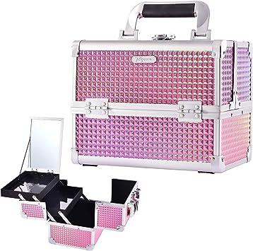 Maletin Maquillaje Profesional Estuche Maquillaje Caja Maquillaje Maletin de Manicura Maletin con Espejo Joyero Cosméticos Organizador de viaje Mujer Rosa: Amazon.es: Equipaje