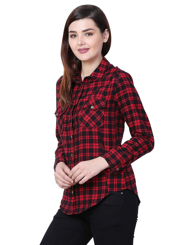 DE LOIRE Women's Roll Up Long Sleeve Button Down Plaid Flannel Fall Winter Shirt